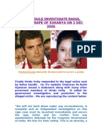 CBI Should Investigate Rahul Gandhi Rape of Sukanya on 03 Dec 2006