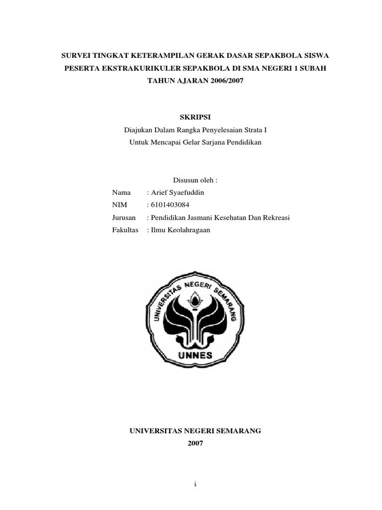 Contoh Skripsi Olahraga Sepakbola Contoh Soal Dan Materi Pelajaran 2