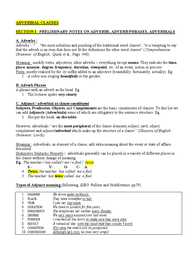 Practice Adverbial Clauses PDF