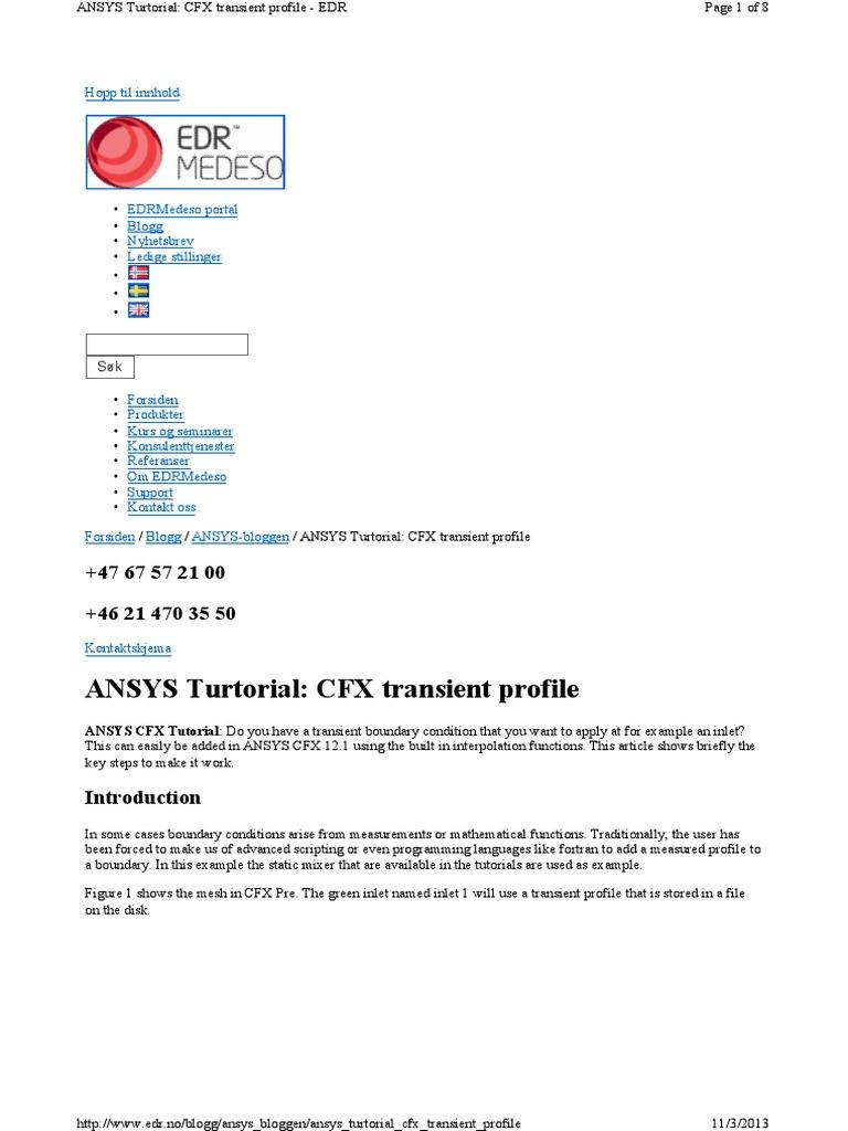 ANSYS Turtorial: CFX transient profile: Hopp til innhold