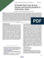 Incidence of Needle Stick Injury Among Proficiency Certificate Level Nursing Students in Kathmandu Nepal