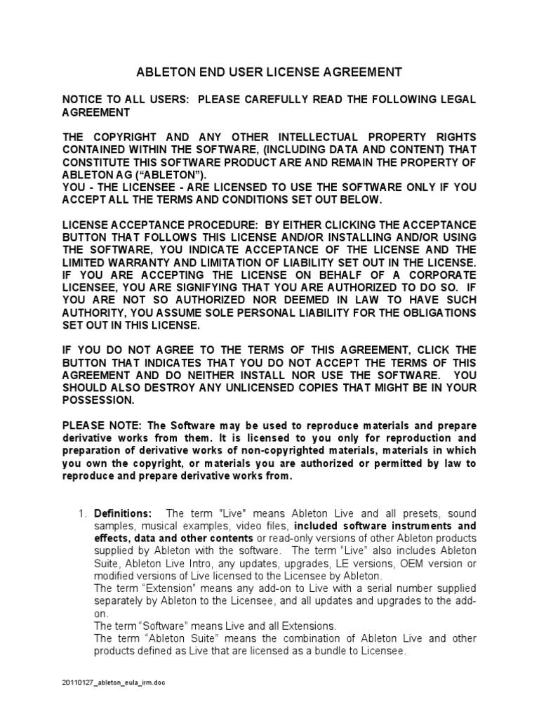 Ableton EULA   License   Derivative Work