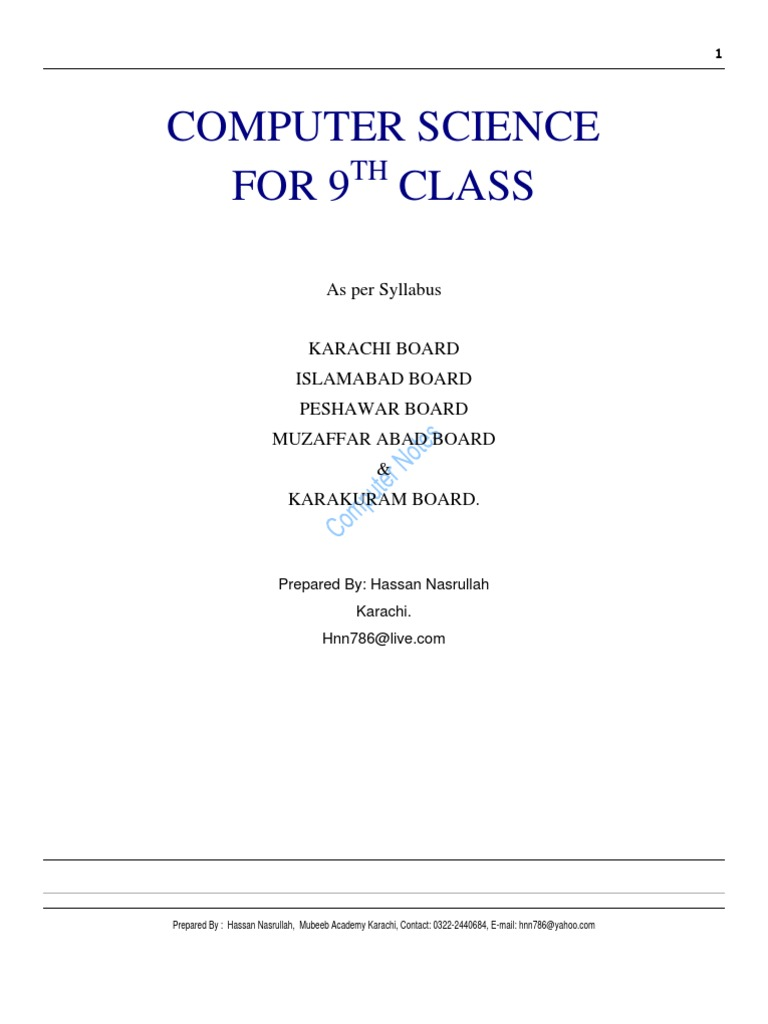 Download Free For Students Computer Notes Class 9th 10th Circuit Diagram Symbols Grade 9 Floppy Disk Printer Computing