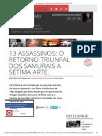 13 Assassinos_ O Retorno Triunfal dos Samurais a Sétima Arte