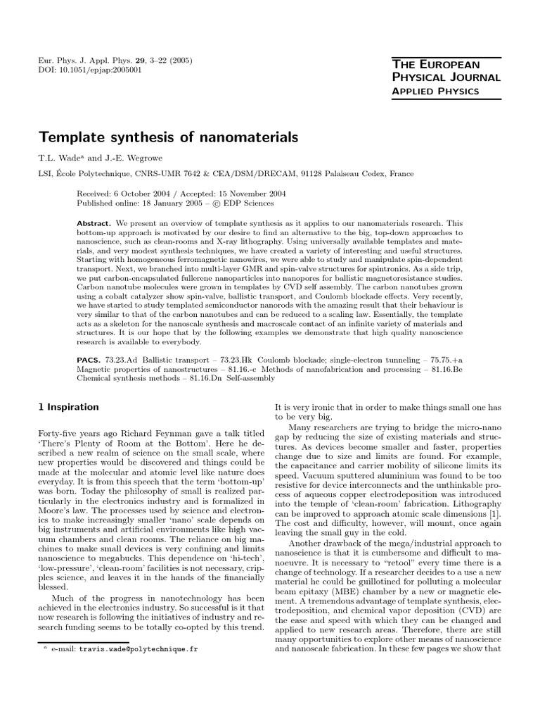 Template Synthesis Of Nanomaterialspdf Nanotechnology Nanowire