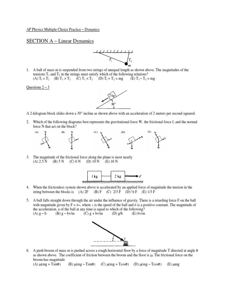 2a dynamics mc practice problems friction force ccuart Gallery