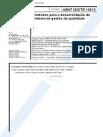 NBR 10013 ABNT ISO TR 10013 - Diretrizes Para a Documentacao de Sistema de Gestao Da Qualidade