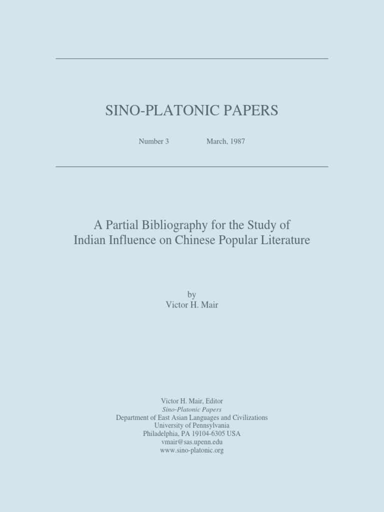 Victor H Mair  A Partial Bibliography For The Study Of Indian Influence  On Chinese Popular Literature  Translations  Bracket