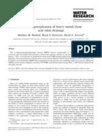 Chemical Precipitation of Heavy Metals From Acid Mine Drainage