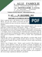 Lettera alle Famiglie - 29 dicembre 2013