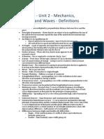 Physics – Unit 2 - Definitions