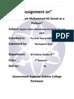 Assignment on Quaid Azam as a Polition