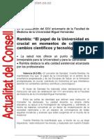 En la celebración del XXV aniversario de la Facultad de Medicina de la Universidad Miguel Hernández