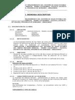 MEMORIA DESCRITIVA AMPLIACIÓN Y MEJORAMIENTO DEL SISTEMA DE AGUA POTABLE DEL ANEXO MATIAZA RIMACHI 2013
