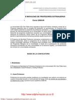Relaciones Internacionales Convocatoria Movilidad Profesores Extranjeros