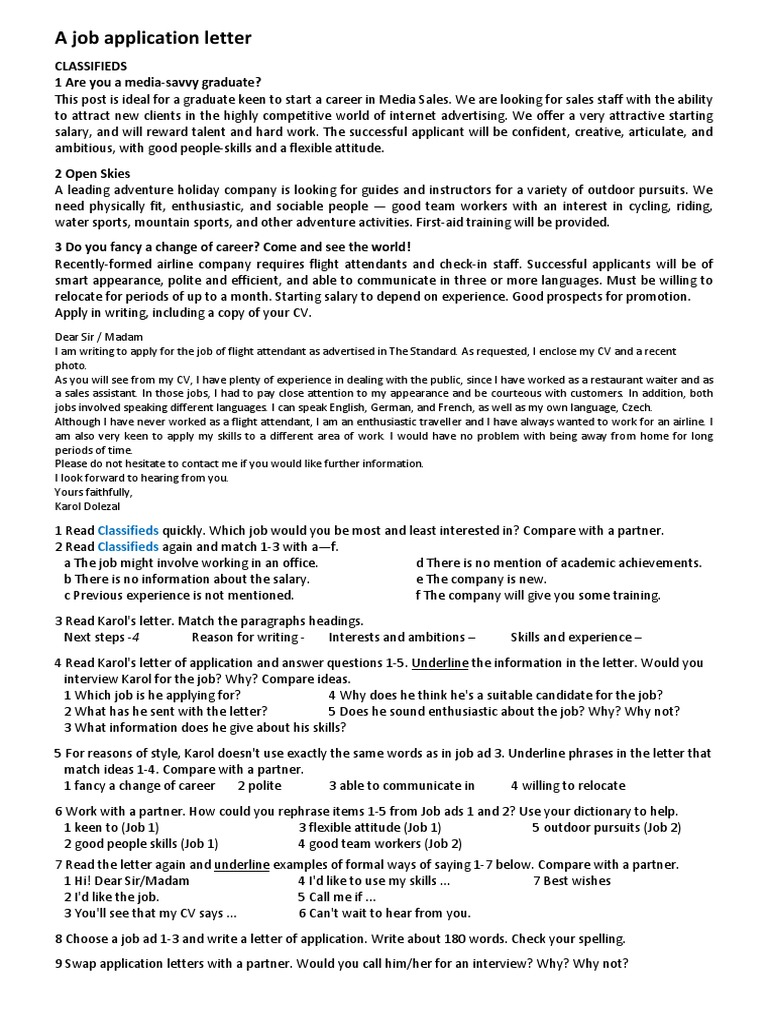 A letter of application communication labour expocarfo