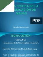 TEORÍA CRÍTICA DE LA COMUNICACIÓN DE MASAS