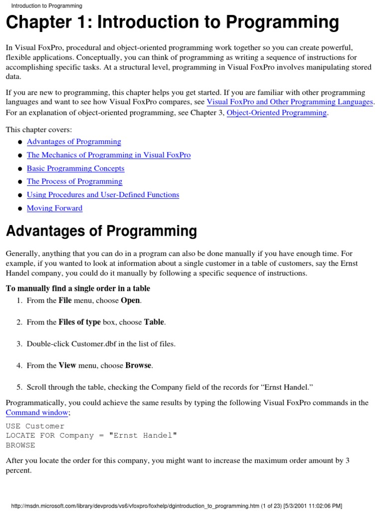 Visual Foxpro 6 Programmer's Guide | Parameter (Computer