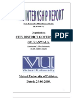 Internship Report On CITY DISTRICT GOVERNMENT, GUJRANWALA