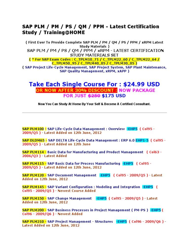 Sap Plm Pm Ps Qm Ppm Xrpm Latest Certification Study Materials Set