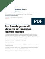 Ligue Savoisienne Et Si La Savoie Rejoignait La Suisse