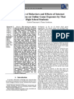The Study of Behaviors and Effects of Internet Technology Focus on Online Game Exposure by Thai High School Students