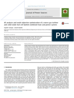 4E Analysis and Multi Objective Optimization of a Micro Gas Turbine and Solid Oxide Fuel Cell Hybrid Combined Heat and Power System 2014 Journal of Power Sources