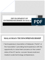 Development of Technopreneurship in Malaysia