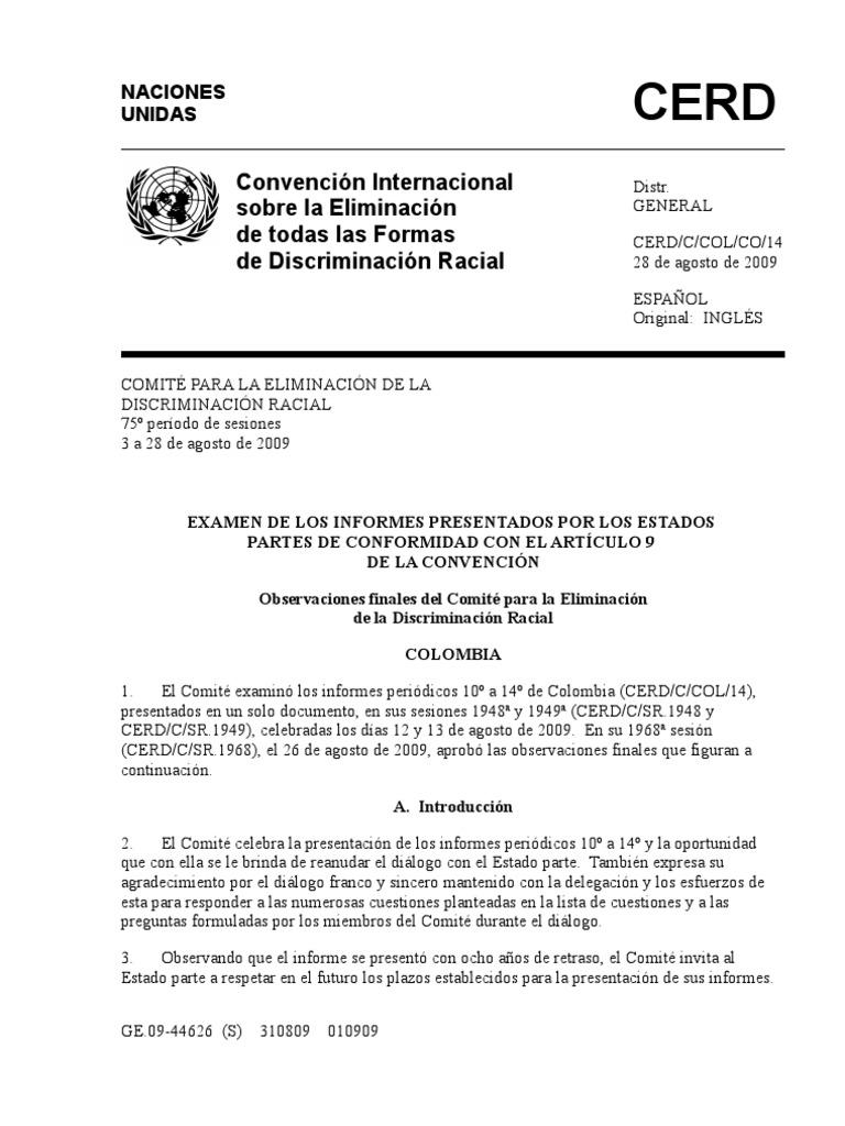 Convención Internacional sobre la eliminación de todas las formas de ...