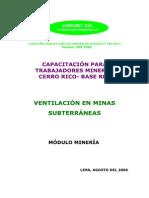 Ventilación de minas subterráneas