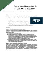 Introducción a la Dirección y Gestión de Proyectos bajo la Metodología PMI