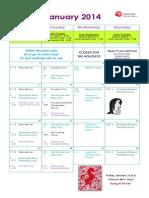 Jessie's - January 2014 Calendar