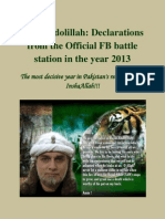 Alhamdolillah ... Zaid Hamid's Declarations in the year 2013  from the FB battle station !!!