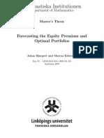 Forecasting the Equity Premium and Optimal Portfolios