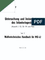 """""""H.Dv.181/7"""" Waffentechnisches Handbuch für MG42"""