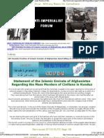 """Statement of the Islamic Emirate of Afghanistan Regarding the Mass Murders of Civilians in Kunduz """