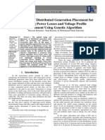 Optimization of Distributed Generation Placement for Minimizing Power Losses and Voltage Profile Improvement Using Genetic Algorithm