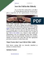 Risk Factors for Fall in the Elderly