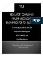 Regulatory Compliance, Fraud and Misconduct, FDA Inspection Preparation.