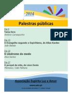 Palestras públicas janeiro 2014