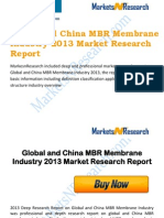 Global and China MBR Membrane Industry 2013 Market Size, Share, Growth & Forecast