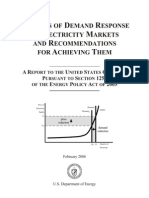 DOE Benefits of Demand Response in Electricity Markets and Recommendations for Achieving Them Report to Congress