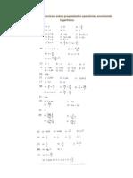 Respostas dos exercícios sobre propriedades operatórias envolvendo logaritmos