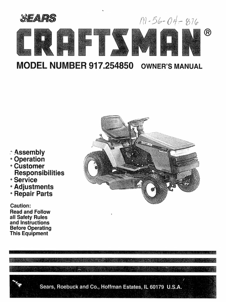 craftsman tractor 917 254850 manual tractor clutch