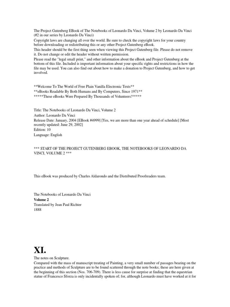 A Modo Mio Melzo leonardo da vincis notes (part ii) translated by richter