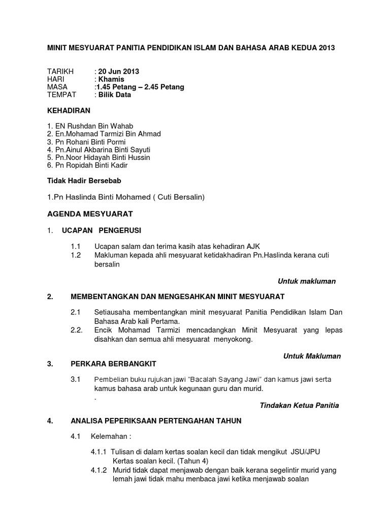 Minit Mesyuarat Panitia Pendidikan Islam Dan Bahasa Arab Kedua 2013