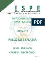 CONSULTA METODOLOGÍA DE LA INVESTIGACIÓN