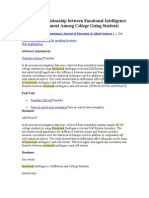 A Study of Relationship Between Emotional Intelligence and Adjustment Among College Going Students