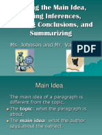 Main Idea Inferences Draw Conclusions Summary Unit VanTreese