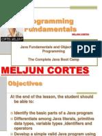 MELJUN CORTES JAVA Lecture Programming Fundamentals